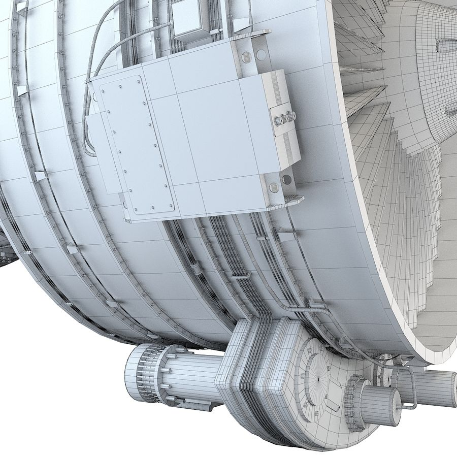 Aircraft Turbofan Engine royalty-free 3d model - Preview no. 22