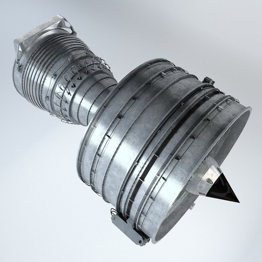 Aircraft Turbofan Engine royalty-free 3d model - Preview no. 14