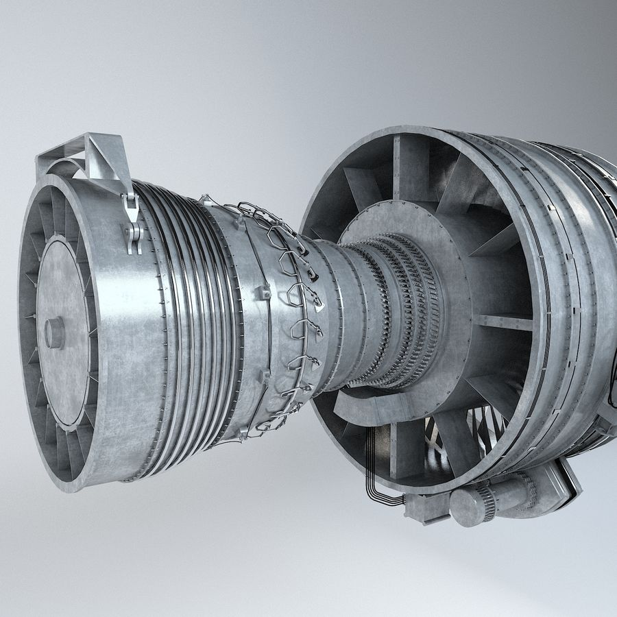 Aircraft Turbofan Engine royalty-free 3d model - Preview no. 12