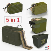 Machine Gun Ammunition Boxes 3D Models Collection 3d model