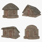 Mud Hut Collection 1 (Low Poly) 3d model