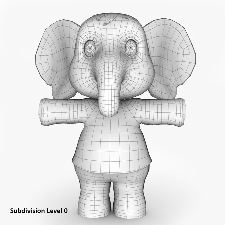 Baby Cartoon Elephant royalty-free 3d model - Preview no. 8
