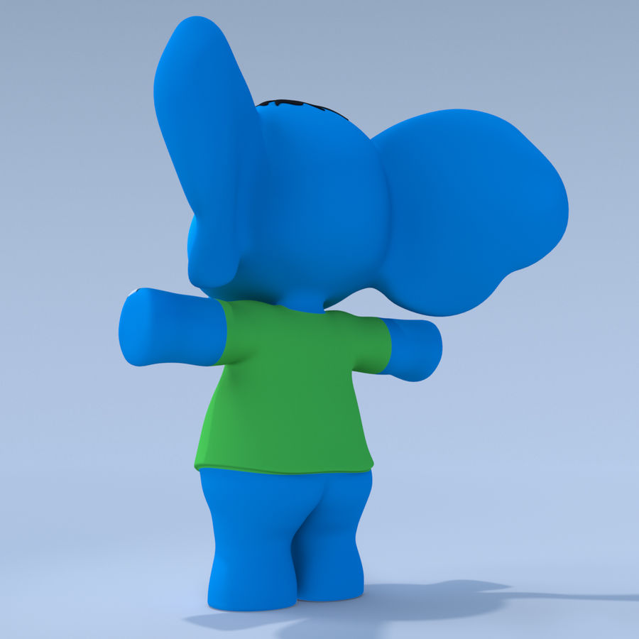 Baby Cartoon Elephant royalty-free 3d model - Preview no. 5