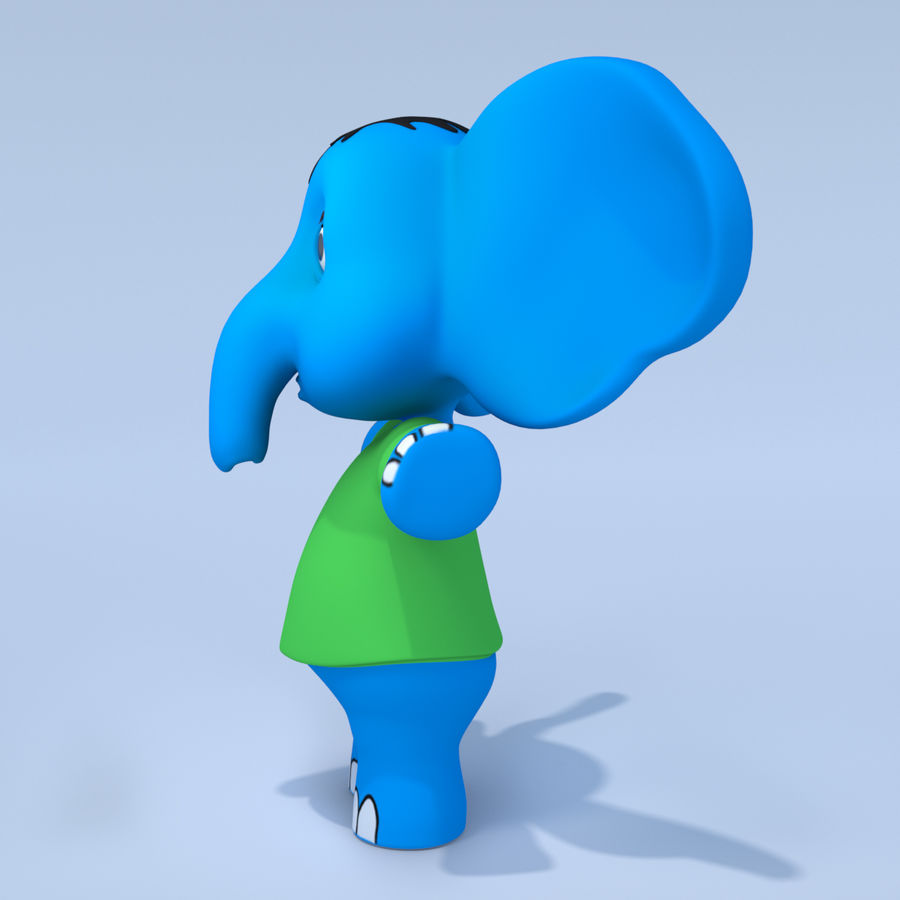Baby Cartoon Elephant royalty-free 3d model - Preview no. 4
