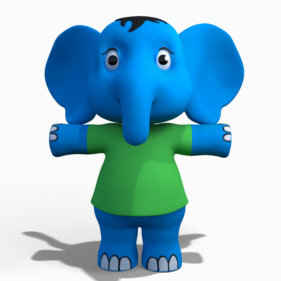 Baby Cartoon Elephant royalty-free 3d model - Preview no. 1