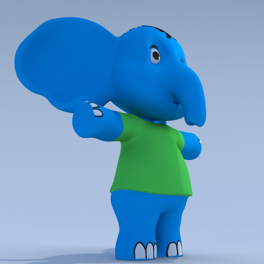 Baby Cartoon Elephant royalty-free 3d model - Preview no. 7