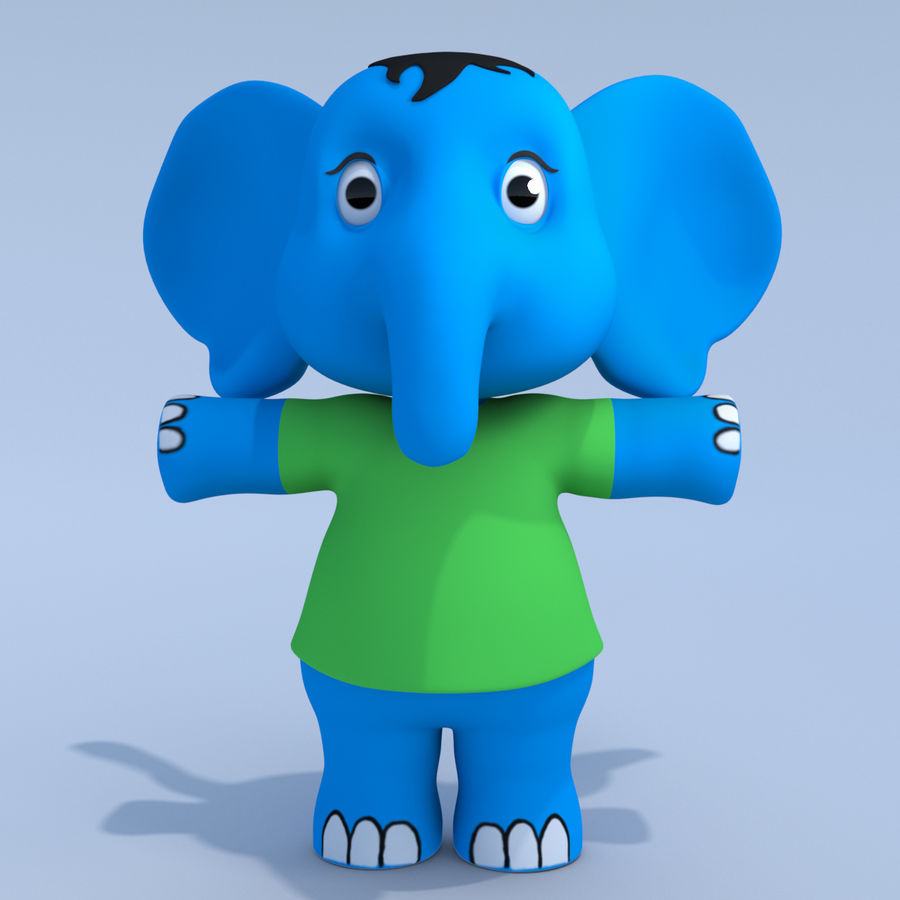 Baby Cartoon Elephant royalty-free 3d model - Preview no. 2