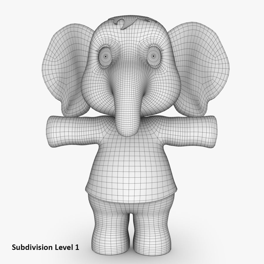 Baby Cartoon Elephant royalty-free 3d model - Preview no. 10