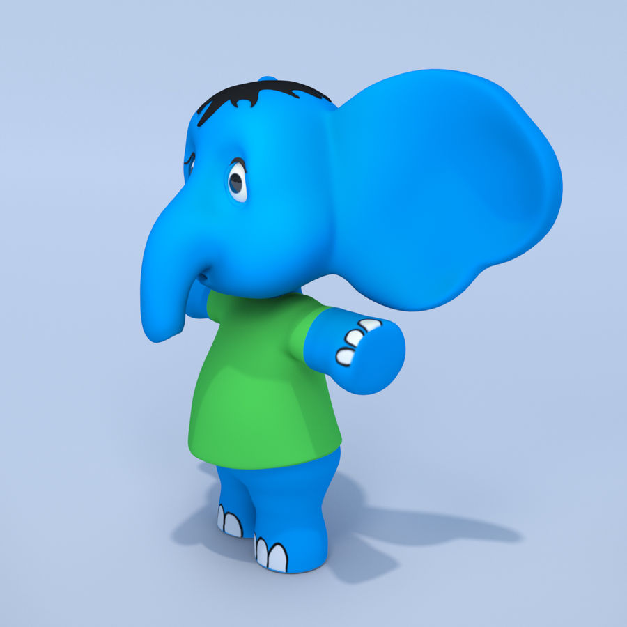 Baby Cartoon Elephant royalty-free 3d model - Preview no. 3