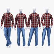 Zestaw jeansów i koszul 3d model