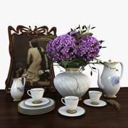 花とお茶セットの花瓶 3d model