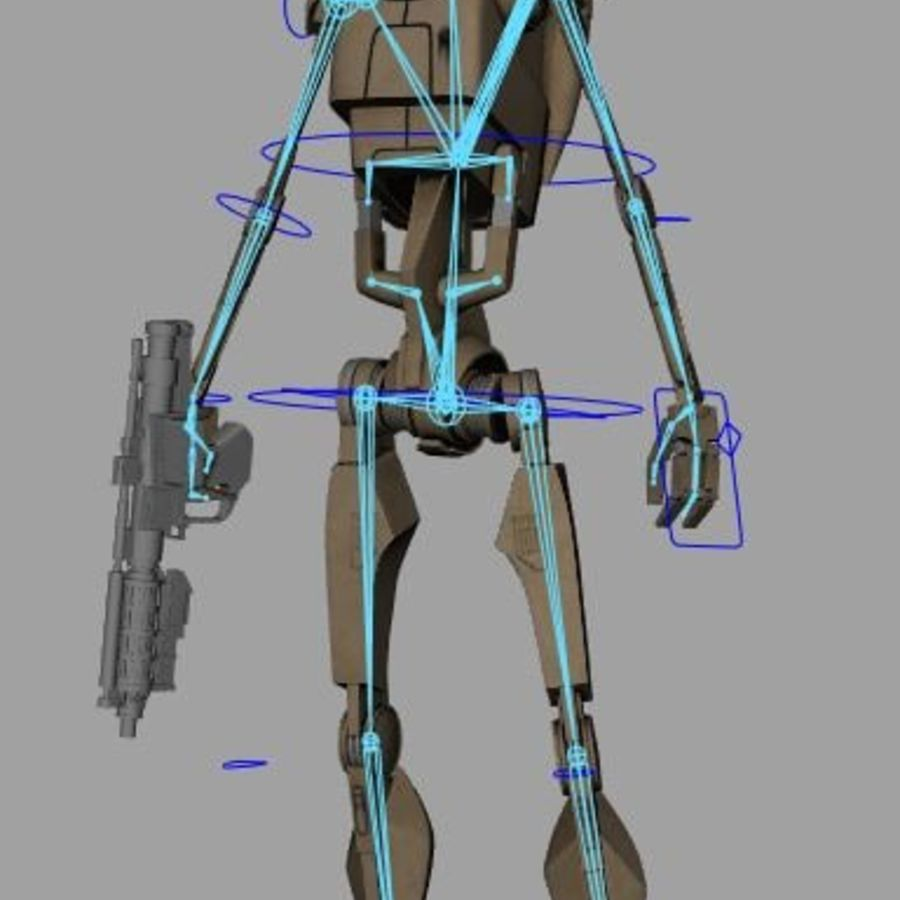 B1 Battle Droid RIGGED royalty-free 3d model - Preview no. 3