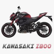 Motocicleta Kawasaki Z800 vermelho modelo 3D 3d model