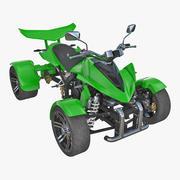 クワッドバイクスパイレーシング350CCバギーATVグリーン 3d model