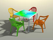 3D plastic terrace chairs and table 3d model