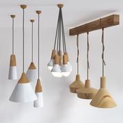 木制灯组2 3d model