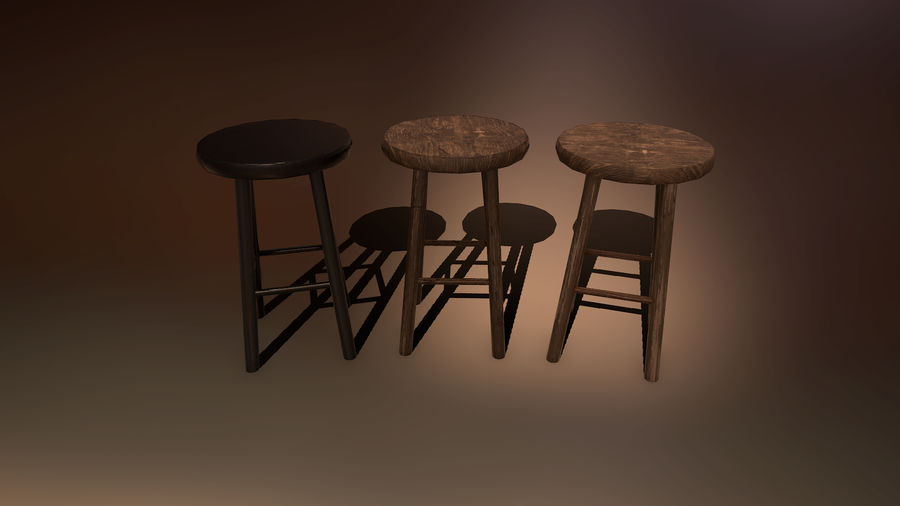 Medeltida bord & stol & stol royalty-free 3d model - Preview no. 5