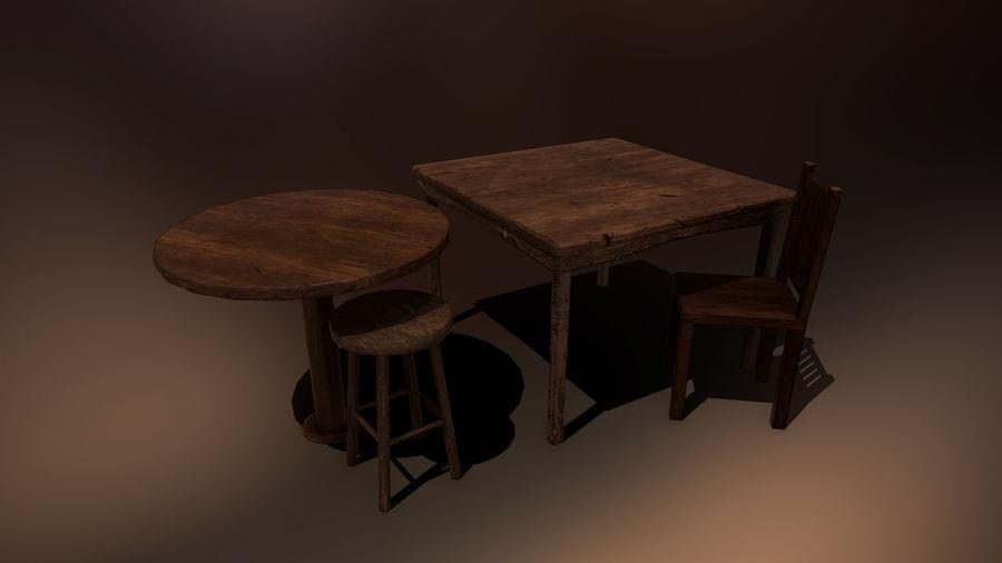 Medeltida bord & stol & stol royalty-free 3d model - Preview no. 1