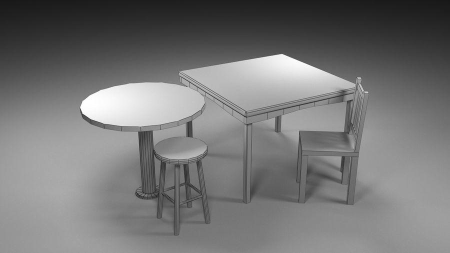 Medeltida bord & stol & stol royalty-free 3d model - Preview no. 6