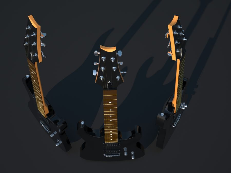 Gitarr royalty-free 3d model - Preview no. 7