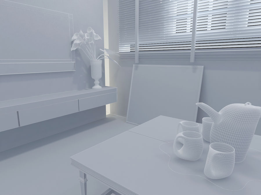Simple Living Room royalty-free 3d model - Preview no. 4