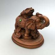 Estátua de elefante marrom 3d model