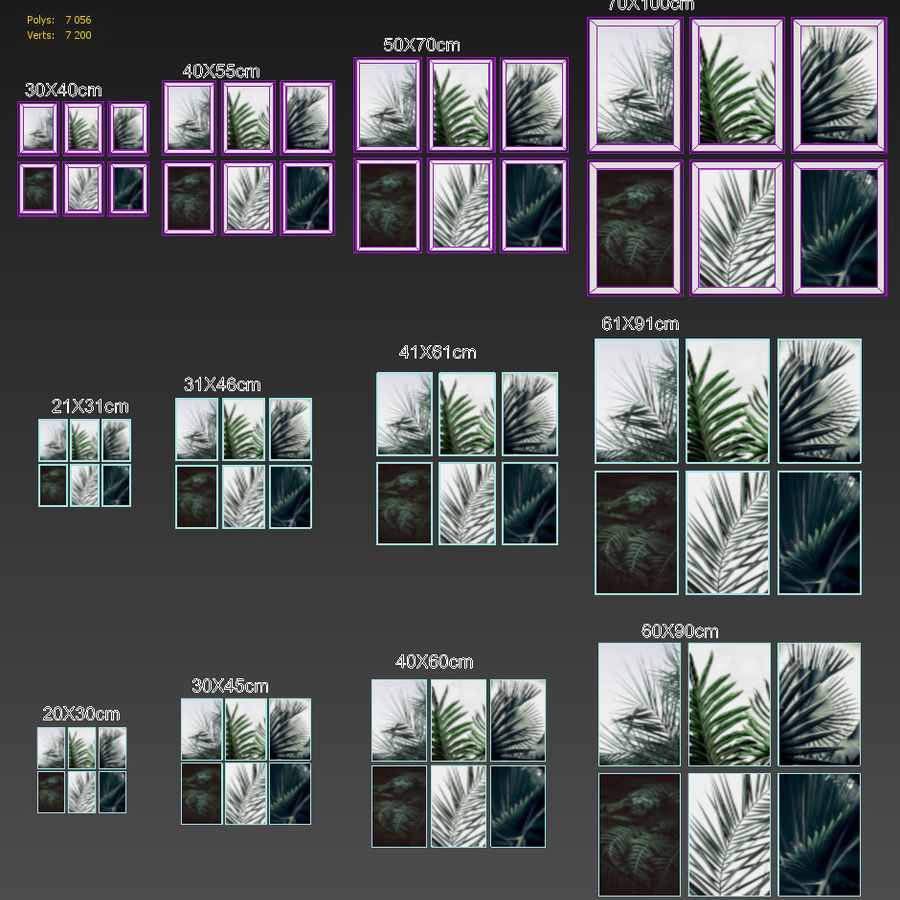 JUNIQE Tropical Set-01 Framed royalty-free 3d model - Preview no. 4