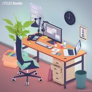 トゥーン3Dスタイルのオフィス 3d model