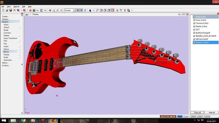 Guitarra Elctrica Metalk royalty-free 3d model - Preview no. 1
