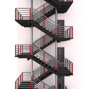 Escalier métallique d'évacuation incendie 3d model