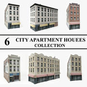 Kolekcja 6 budynków mieszkalnych 3d model