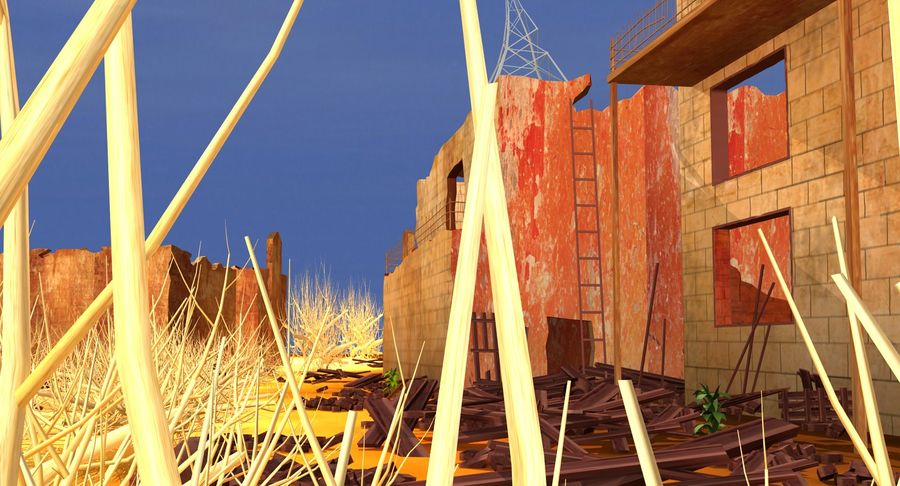 Сцена разрушенного города royalty-free 3d model - Preview no. 11