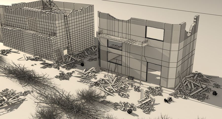 Сцена разрушенного города royalty-free 3d model - Preview no. 19