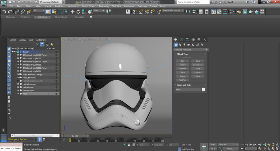 Casque Star Wars Stormtrooper royalty-free 3d model - Preview no. 13