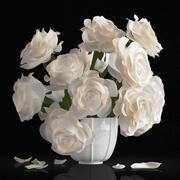 White rose bouquet 3d model