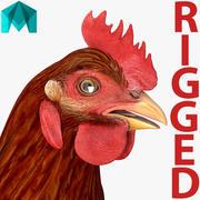 Brązowy kurczak uzbrojony w majówkę 3d model