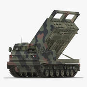 US Multiple Rocket Launcher M270 MLRS Camo Rigged 3d model