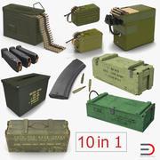 Kolekcja modeli 3D i magazynów broni wojskowej 3d model