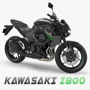 Modelo 3D Kawasaki Z800 2016 Green Rigged 3d model