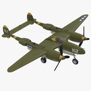 록히드 P-38 라이트닝 US WWII 파이터 3d model