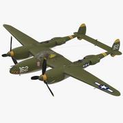 록히드 P-38 라이트닝 US WWII 파이터 리지드 3d model