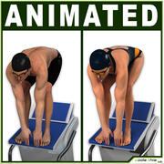 Männlicher und weiblicher Schwimmer CG 3d model