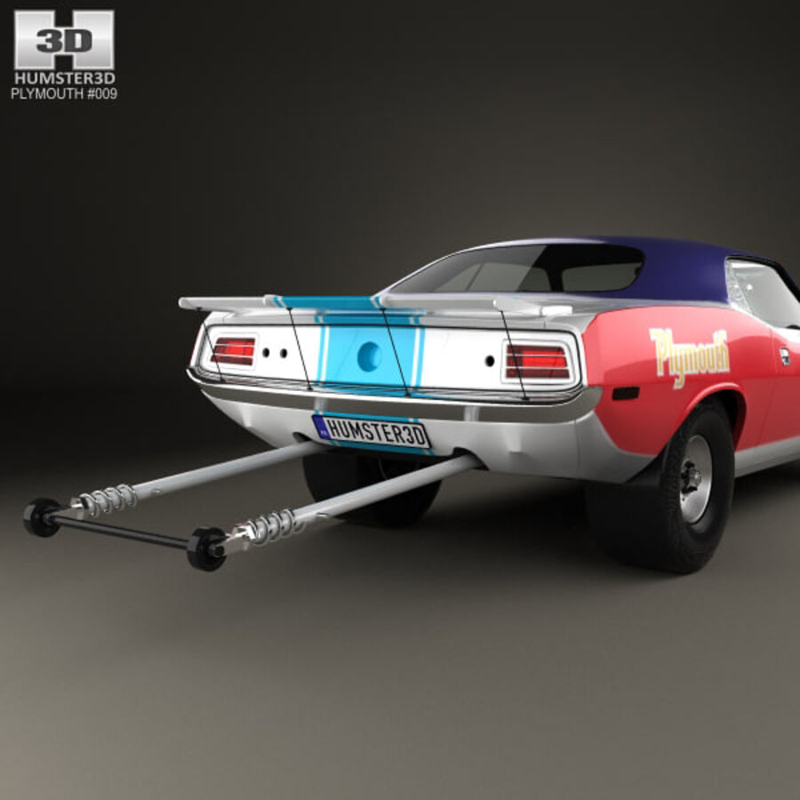 Plymouth Barracuda Dragster 1974 royalty-free 3d model - Preview no. 7