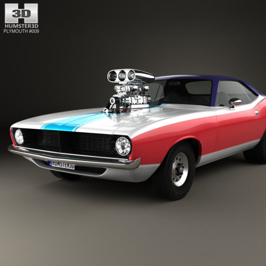 Plymouth Barracuda Dragster 1974 royalty-free 3d model - Preview no. 6