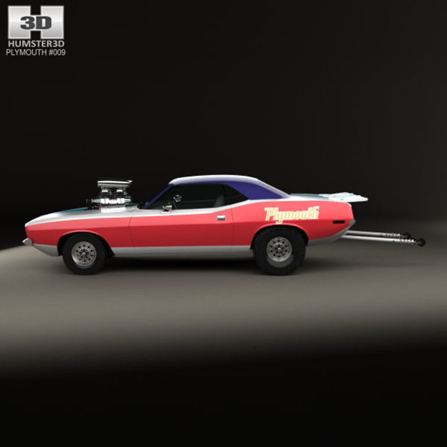 Plymouth Barracuda Dragster 1974 royalty-free 3d model - Preview no. 5
