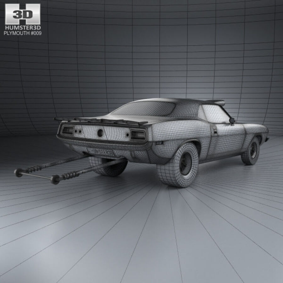 Plymouth Barracuda Dragster 1974 royalty-free 3d model - Preview no. 4