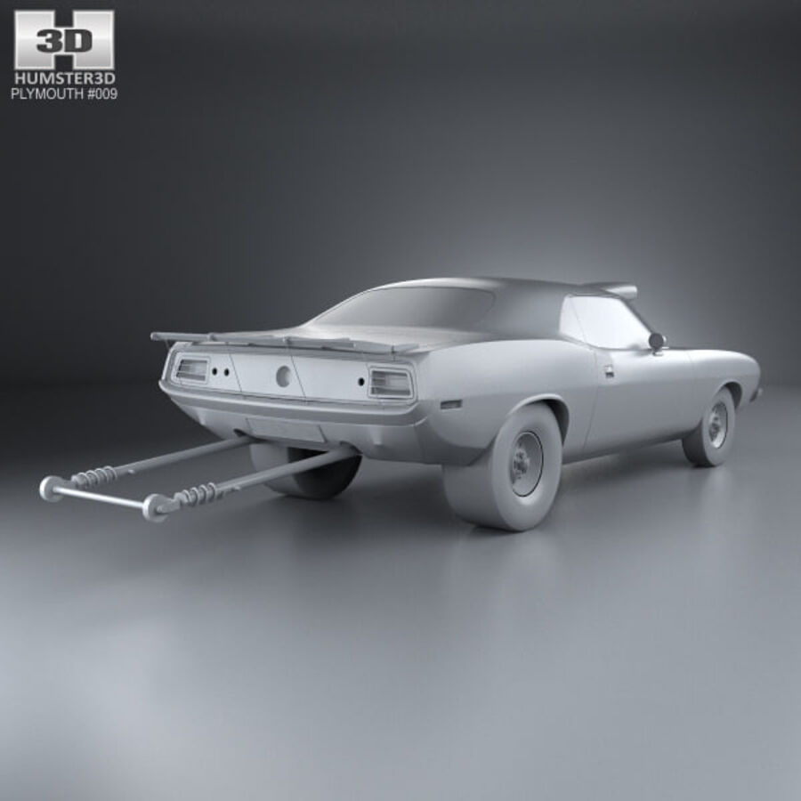 Plymouth Barracuda Dragster 1974 royalty-free 3d model - Preview no. 12