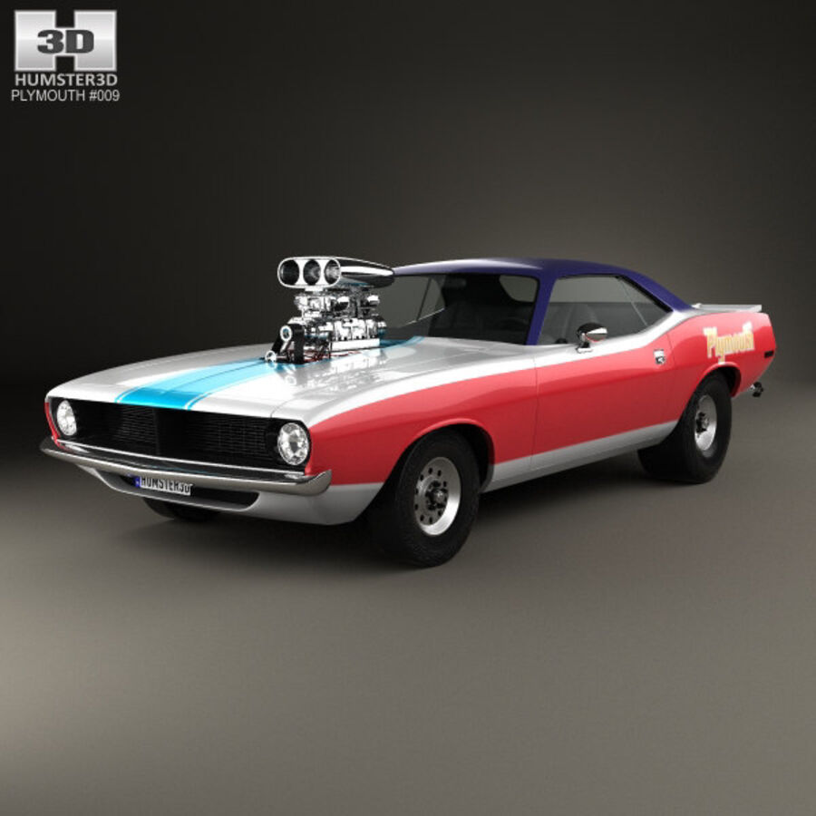 Plymouth Barracuda Dragster 1974 royalty-free 3d model - Preview no. 1