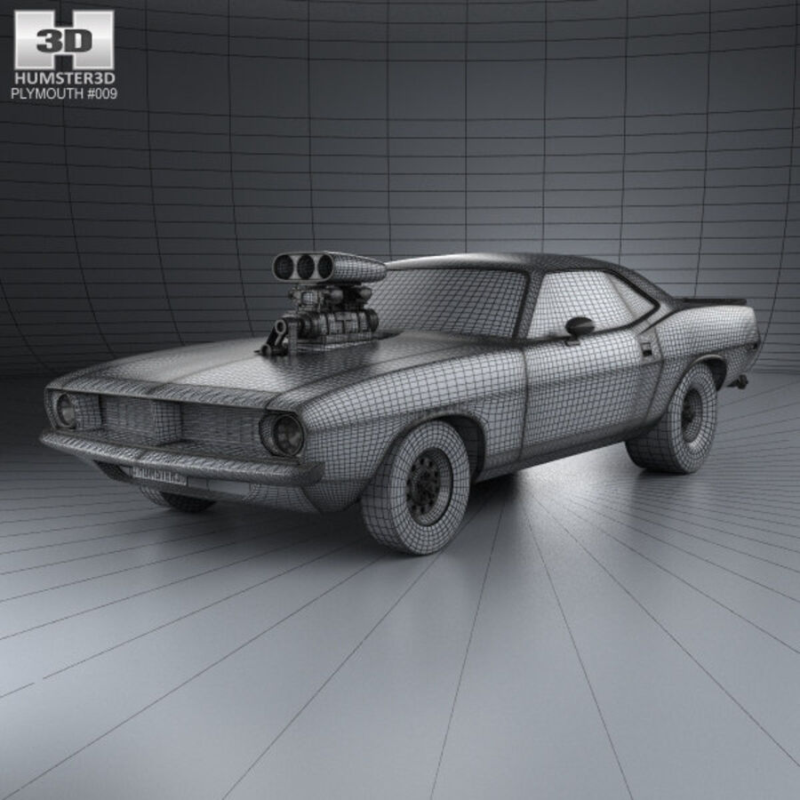 Plymouth Barracuda Dragster 1974 royalty-free 3d model - Preview no. 3