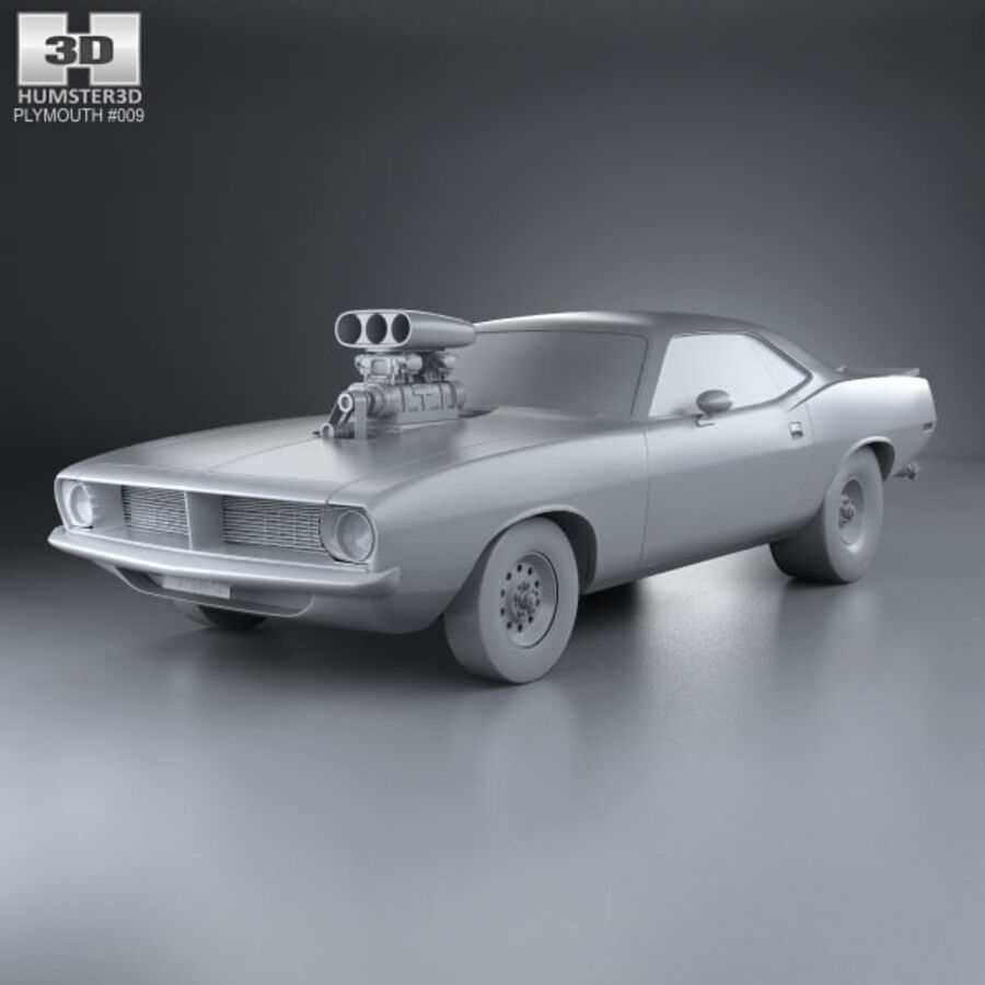 Plymouth Barracuda Dragster 1974 royalty-free 3d model - Preview no. 11